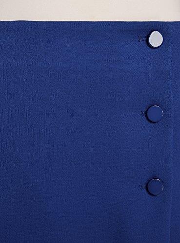 oodji Ultra Mujer Falda Trapecio con Botones Decorativos Azul (7500N)