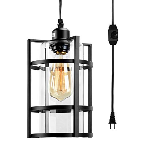 Stepeak Plug in Industrial Pendant Light Fixture with 16.4 Ft Hanging Cord, Lampshade and in Line On Off Dimmer Switch, Perfect Vintage Swag Ceiling Lamp Lighting for Dining Room Bedroom Porch