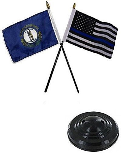 ALBATROS Kentucky State with USA Police Blue 4 inch x 6 inch Flag Desk Set Table Stick with Black Base for Home and Parades, Official Party, All Weather Indoors Outdoors