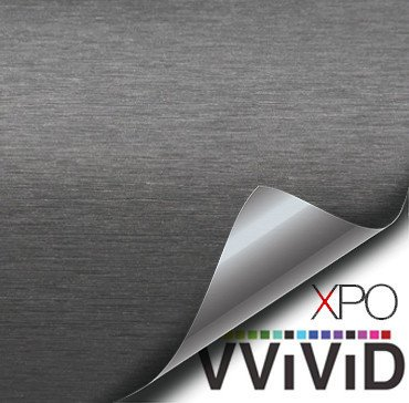 VViViD XPO Gunmetal Grey Brushed Metallic Steel 5ft Vinyl Wrap Roll with Air Release Technology (5ft x 3ft)