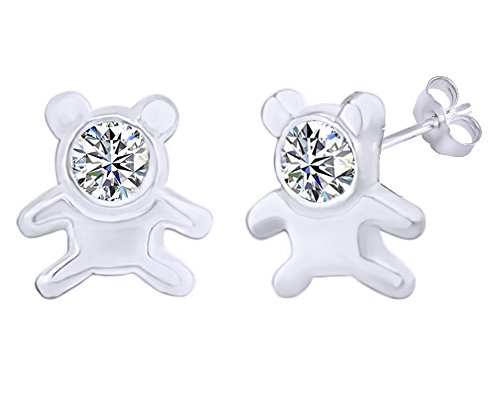 14k Teddy Bear Ring (Mothers Gift Simulated Cubic Zirconia Cute Teddy Bear Stud Earrings 14K White Gold Over Sterling Silver)
