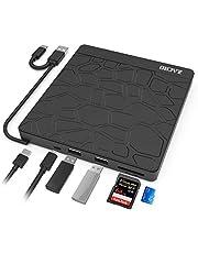 Zacro External DVD CD Drive, Ultra-Slim Dual USB 3.0 Type C Dual USB 3.0 Low Noise CD-RW/VCD-RW Player and Burner, for MacBook/Laptop/Desktop/Win 7/8/10/XP