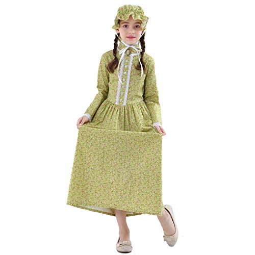 Girls Pioneer Costume Colonial Prairie Dress 100% Cotton,Yellow Green-12