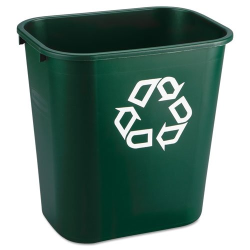 Rubbermaid Commercial Deskside Paper Recycling Container, Rectangular, Plastic, 7 gal, Green - one waste receptacle.