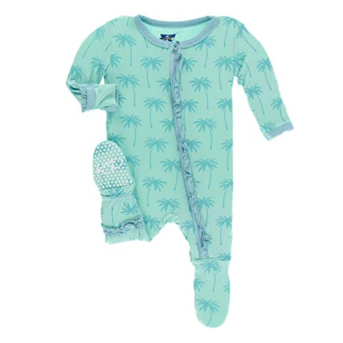 Kickee Pants Little Girls Print Layette Classic Ruffle Footie with Zipper - Glass Palm Trees, Newborn