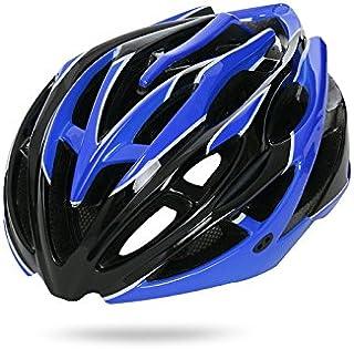 AHIMITSU Casco da Ciclismo Casco Ciclo di Ventilazione per Casco Regolabile per Adulto (Nero + Blu) Articoli Sportivi