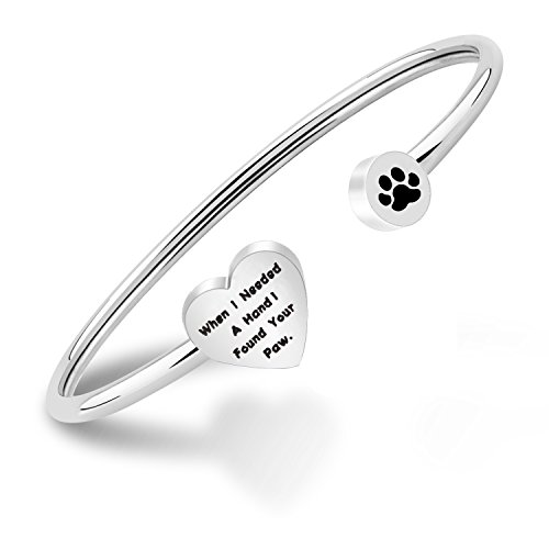 PLITI Dog Lovers Paw Print Bangle Bracelet When I Needed A Hand I Found Your Paw Bracelet for Dog Mom (Dog Paw) (Paw Print Dog Bones)