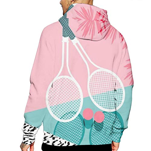 Art Tennis Sport T-Shirt Hooded with A Pocket Rope Hat Customization Fashion Novelty 3D Mens