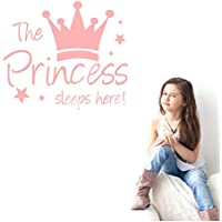 Oban Princess's Sleep Here Wall Sticker with Children's Crown Lettering Vinyl Decal Wall Sticker Children's Room Decor For Girls