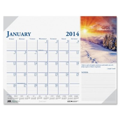 Earthscapes Monthly Desk Pad Calendar, Nonrefillable, 18-1/2