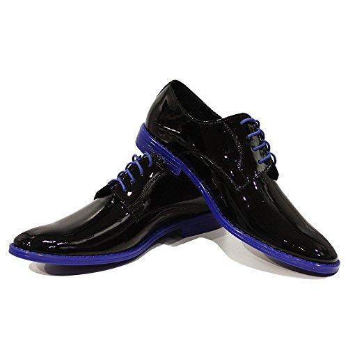 Herren Schnüren Abendschuhe Schnürhalbschuhe Lackleder Enrico Oxfords Leder Italienisch Modello Schwarz Rindsleder Handgemachtes w6IAOAq4