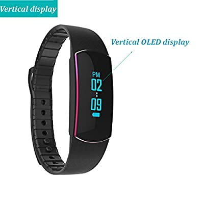 Heart Rate Monitor Fitness Tracker ,Pashion Bluetooth Smart Bracelet Smart Band Waterproof Activity tracker Fitness Watch Pedometer Sleep Monitor with Touch Screen for Android and IOS (Red)