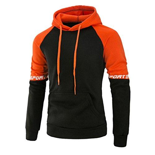 Kaiki Männer Langarm Patchwork Hoodie Kapuzen Sweatshirt Tops Jacke Mantel Outwear mit Tasche Orange