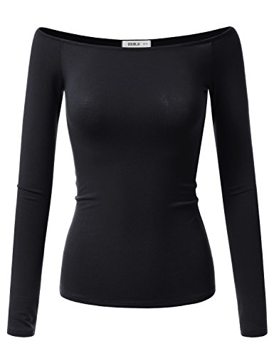 Doublju Sexy Fitted Off The Shoulder Blouse Top for Women with Plus Size (Made in USA) Black Large