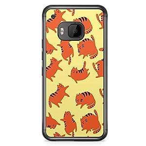 HTC One M9 Transparent Edge Phone Case Cute Cat Phone Case Orange Cat M9 Cover with Transparent Frame