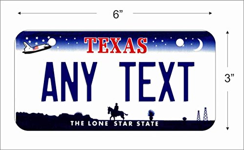 Texas State Replica Novelty License Plate for Auto, Mini License Plate For Bicycles, Bikes, Wheelchairs, Golf Carts personalized with your Text custom vanity Decorative plate