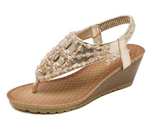 la Sólido Las LIANGXIE Sandalias del Sandalias Nuevo de del Verano Oro Diamantes ZHHZZ Pendiente Mujeres de Imitación Elásticos de Espiga Color la de de TSf1wT