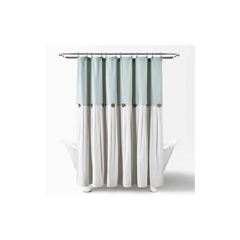 "Lush Decor Linen Button Shower Curtain, 72"" x 72"", Blue & Off-White"