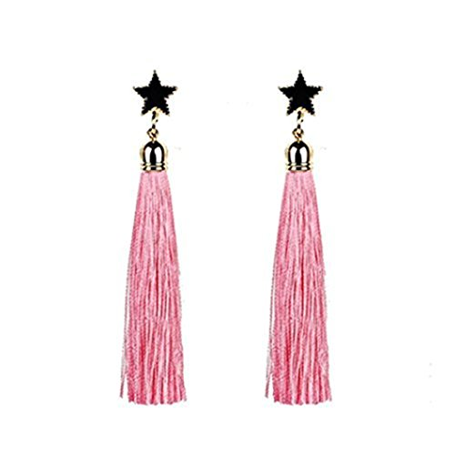 (Elogoog Handcraft Gorgeous Long Tassel Drop Dangle Stud Earrings For Wedding Party Dance Jewelry (Pink 3))