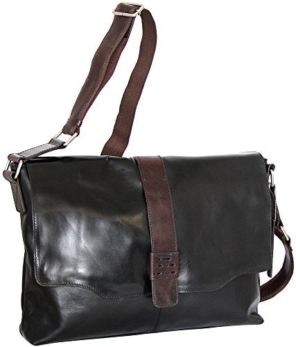 Black Glazed Leather Messenger (Nino Bossi Lorena Large Messenger Bag (Black))