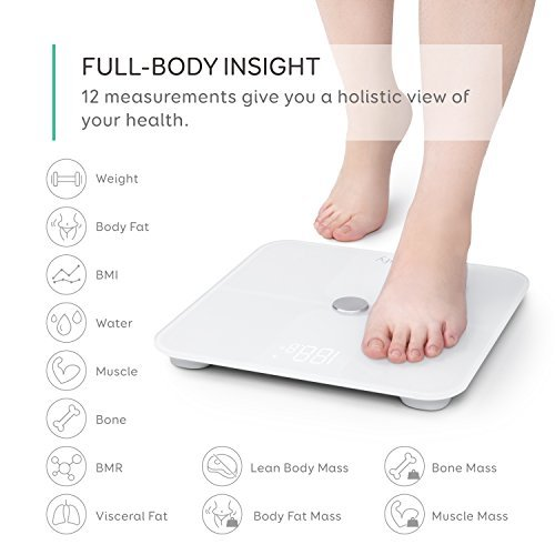eufy by Anker, Smart Scale with Bluetooth, Body Fat Scale, Wireless Digital Bathroom Scale, 12 Measurements, Weight/Body Fat/BMI, Fitness Body Composition Analysis, Black/White, lbs/kg/st