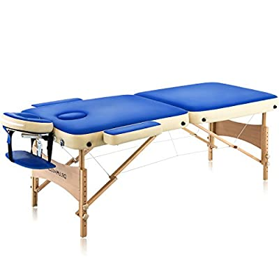 "Dr.lomilomi Bicolor 28"" Portable Massage Table 002 Spa Bed with Carry Case and Cover Sheet Set (Persian Blue-vanilla)"