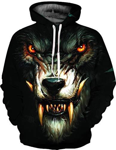 Manche Coloré Tigre Ocean Capuche Hooded Sweat Violent Noir Décontracté Loup Hommes Licorne Imprimer Plus Longue À 1qgExtg