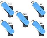 FEBNISCTE 5pcs Swivel 32GB USB3.0 Flash Thumb Stick with Key Ring Design - Blue