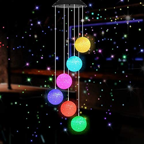 eQFeast Color Changing Wind Chime Outdoor, Solar Powered Crystal Ball Wind Chimes LED Wind Mobile Solar Lights Wind Bell for Garden Patio Home Decoration (Crystal Ball)