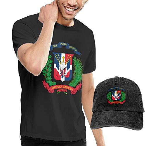 Novelty Baseball Hat & T-Shirt Bundle, Cotton T Shirt Solid Short Sleeve Tee Top T-Shirt Adjustable Cap Adult Black Tee Shirt Dominican Republic Flag