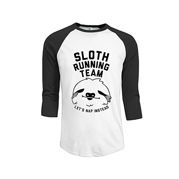 Sloth Running Team Mens Plain Raglan T Shirts Crazy Baseball -