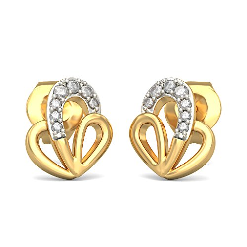 Or jaune 18 K 0,08 ct tw White-diamond (IJ | SI) Boucles d'oreille à tige
