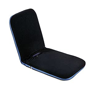 HOMCOM Foldable Padded Floor Chair with Adjustable Backrest Thick Seat Cushion Lazy Lounge Sofa, Navy Blue