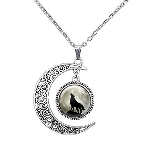 New world idea Crescent Howl Wolf Moon Pendant Necklace Collections Jewelry Gift for Women ()