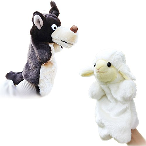 Merveilleux 2pcs Hand Puppets for Kids Favors Gift Storytelling Props Plush Interactive Toys--Wolf and Sheep