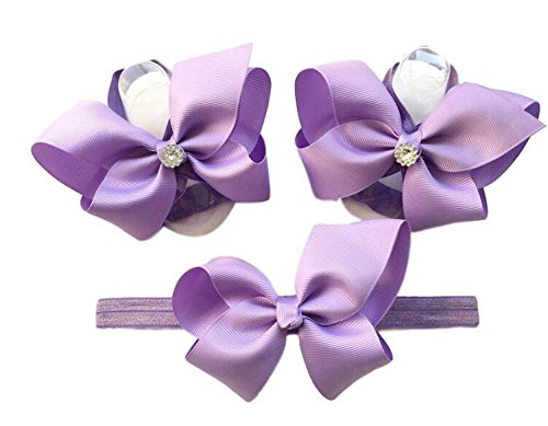 Bridal Costume Jewelry Toronto (Newborn Crystal Bowknot Barefoot Sandal and Headband Set for Photo Prop; Best Shower Gift Infant Foot Shoes Decoration with Free Cute Hair Band)