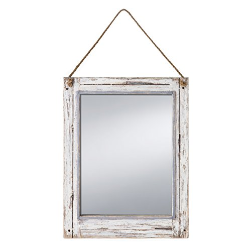 PRINZ Rustic River Mirror with Wood Border in Distressed White Finish by PRINZ