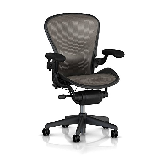 Herman Miller Aeron Task Chair: Highly Adjustable w/PostureFit Lumbar Support - Fully Adjustable Vinyl Arms - Tilt Limiter - Size B - Standard Carpet Casters - Graphite Frame/Lead Classic Pellicle - Aeron Classic Frame