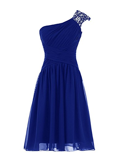 Diyouth Beaded One Shoulder Short Chiffon Pleated Prom Bridesmaid Dress Royal Blue Size 12