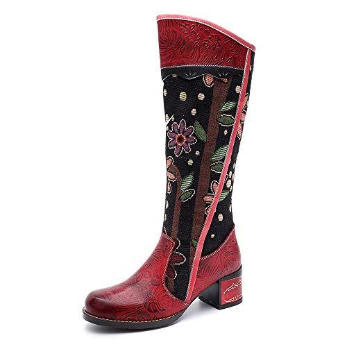 Zapatos Planas Wsr Rodilla De Las Estudiantes Ocasionales Botas La Hasta Altas Artesanales Retro Mujeres Femeninas Mujer Martin Rojo Étnicas tqTRq