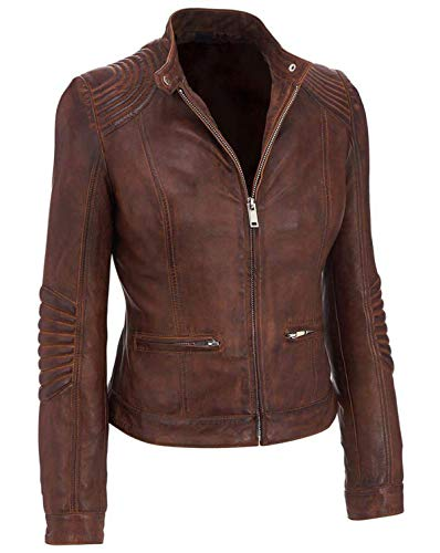 Womens Cafe Racer Biker Distressed Brown Quilted Leather Jacket