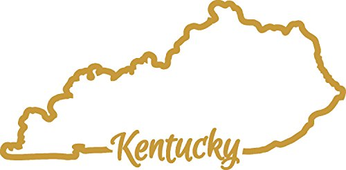Kentucky State Gem (Kentucky State Map Outline GOLD (set of 2) silhouette stencil artwork by ANGDEST - Waterproof Vinyl Decal Stickers for Laptop Phone Helmet Car Window Bumper Mug Tuber Cup Door Wall Decoration)