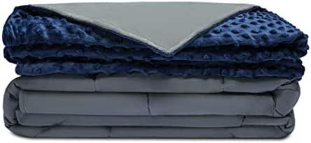 Quility Premium Adult Weighted Blanket & Removable Cover   20 lbs   60