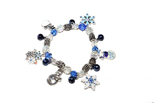 Silver Stretch Bracelet Plated Beaded (Lux Accessories Frozen Snowman Snowflake Christmas Holiday Beaded Xmas Stretch Bracelet)