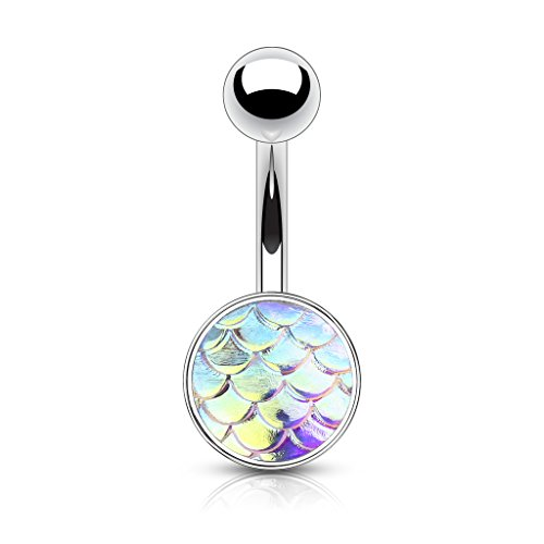 Inspiration Dezigns 14G 10mm Belly Button Navel Ring Aurora Borealis Iridescent Fish Scale Piercing