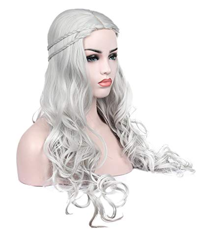 Long Wavy Curly Sliver Grey Cosplay Costume Wigs for Game of Thrones Daenerys Targaryen khalees Halloween Hair wig 24 inches (Sliver Grey) ()