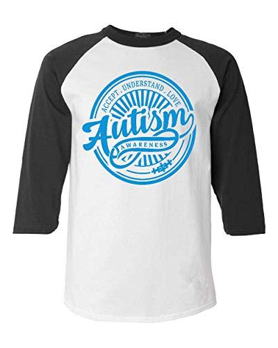 shop4ever Autism Awareness Accept Understand Love Blue Circle Raglan Baseball Shirt