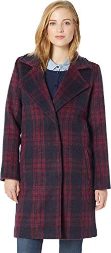 cupcakes and cashmere Women's Aldean Brushed Plaid Drape Front Coat, red Velvet Large