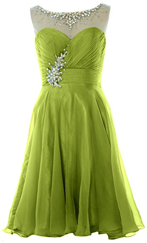 MACloth Women Straps Crystal Chiffon Short Prom Dress Cocktail Party Formal Gown Verde Oliva