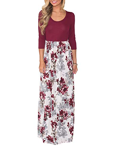 DUNEA Women's Maxi Dress Floral Printed Autumn 3/4 Sleeve Casual Tunic Long Maxi Dress (Small, Wine Red02) ()